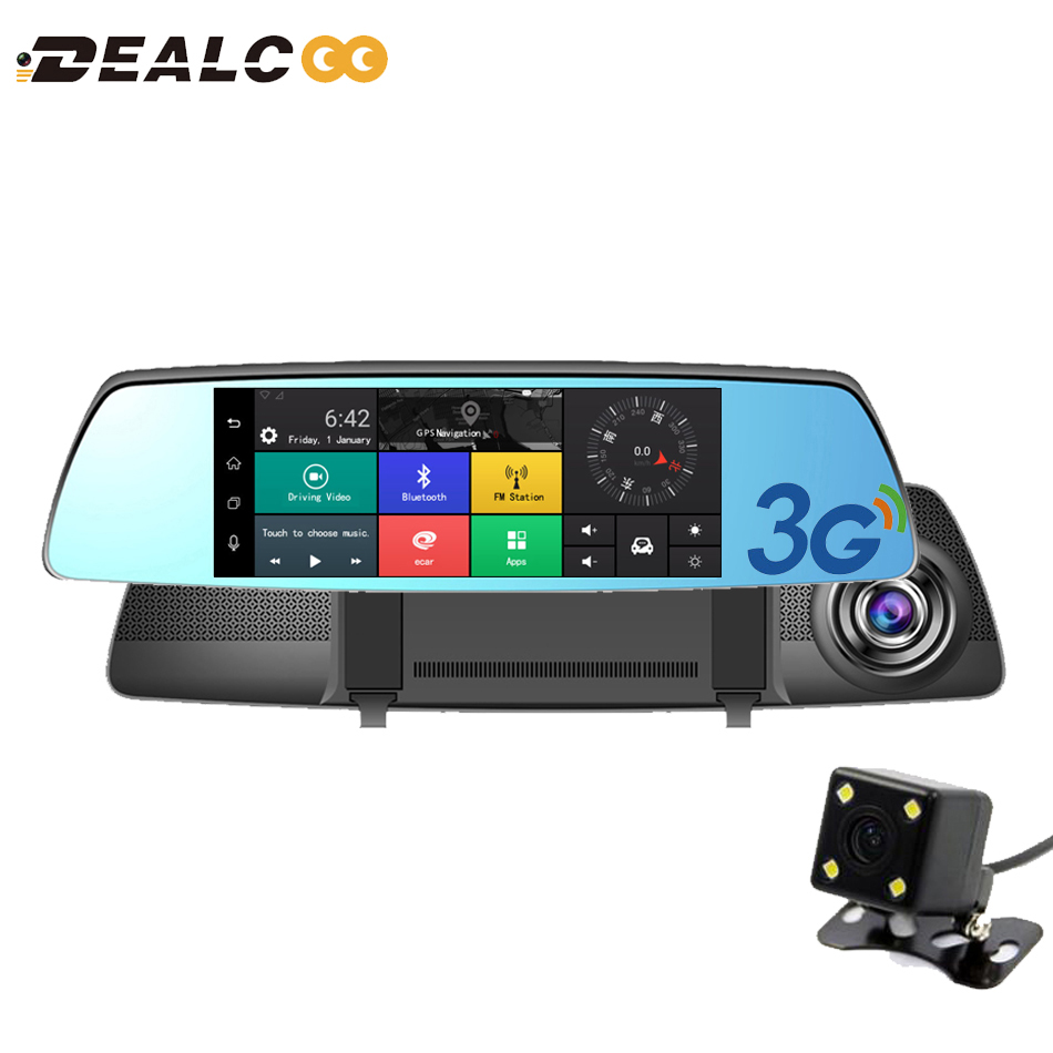 Dealcoo 3G Car Camera 7Touch Android 5.0 GPS dvr car video recorder Bluetooth WIFI Dual Lens rearview mirror Dash cam car dvrs relaxgo 5android rearview mirror car camera gps navigation wifi car video recorder dual lens 1080p vehicle dvr parking dash cam