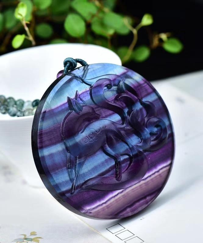 Collier de gardien de renard à neuf queue en fluorite de couleur naturelle pendentif de bijoux fantaisie amulette noeud chanceux