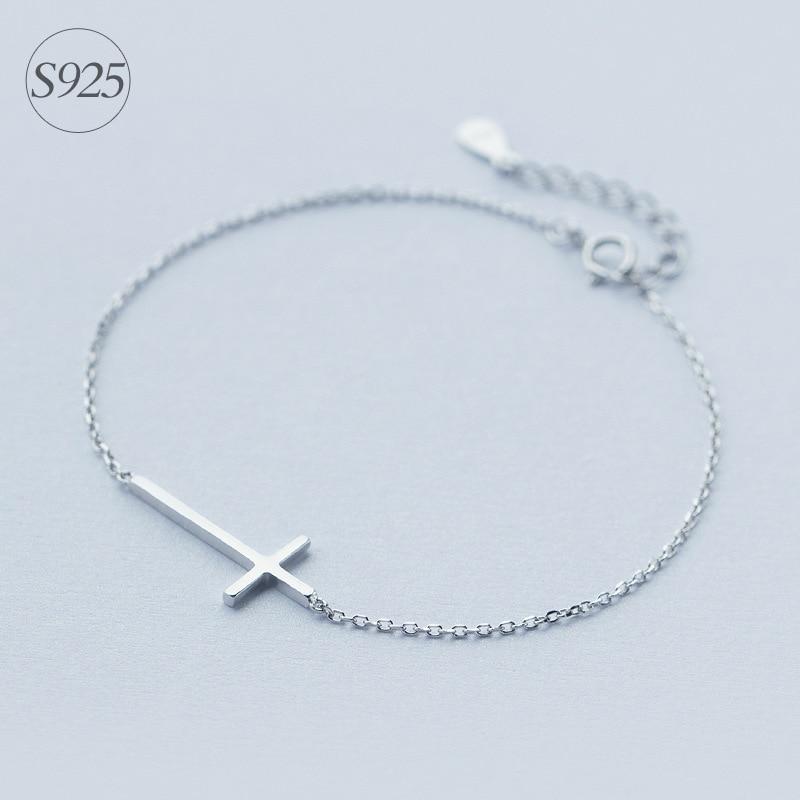 Sterling Silver Rolo Chain Adjustable Bracelet with Cross Charm GA7IeIeq