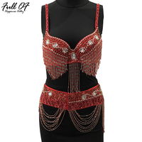 2018 Sexy Women Metal Chain Beading Tassel Dress Womens Shiny Crystal Diamond 2 Two Piece Sequins