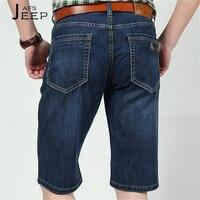 Ji pu bolsillo trasero grande 2017 hombre de verano Denim jeans cortos, azul oscuro suelto hombre joven viajes longitud corta vaquero vaqueros cortos