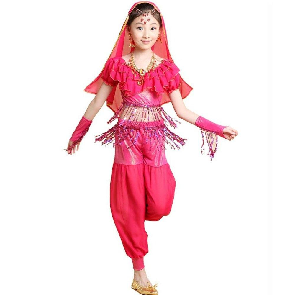8664c5b27d5 2015 KIDs Belly Dance Costumes Performance DanceWear Clothing Set 4 PCS  Top&Pants&Gloves&Veil Child Bollywood Indian Dress