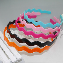Hot Sale Colors Plastic Hairband Simple Brand Wave Hair Bow Summer Hairdress For Making Up Face Clips Accessories Girl