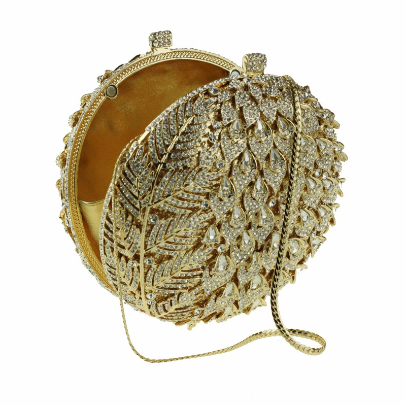 round crystal clutch bag golden2