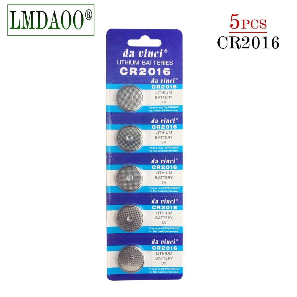 5PCS/lot 1 card CR2016 3V Lithium li-liom Battery DL2016 ECR2016 LM2016 BR2016 CR 2016 Button cell Coin Batteries watch toys