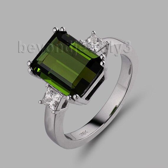 Hawaiian Wedding Rings Emerald Cut 7x9mm Green Tourmaline 18kt White