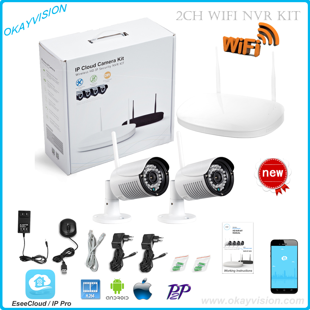 CCTV System 720P 2ch HD Wireless NVR kit Outdoor IR Night Vision IP Camera wifi Camera kit Home Security System Surveillance cctv system wireless 1080p hd outdoor waterproof 20m night vision home security p2p wifi ip nvr camera video surveillance kit