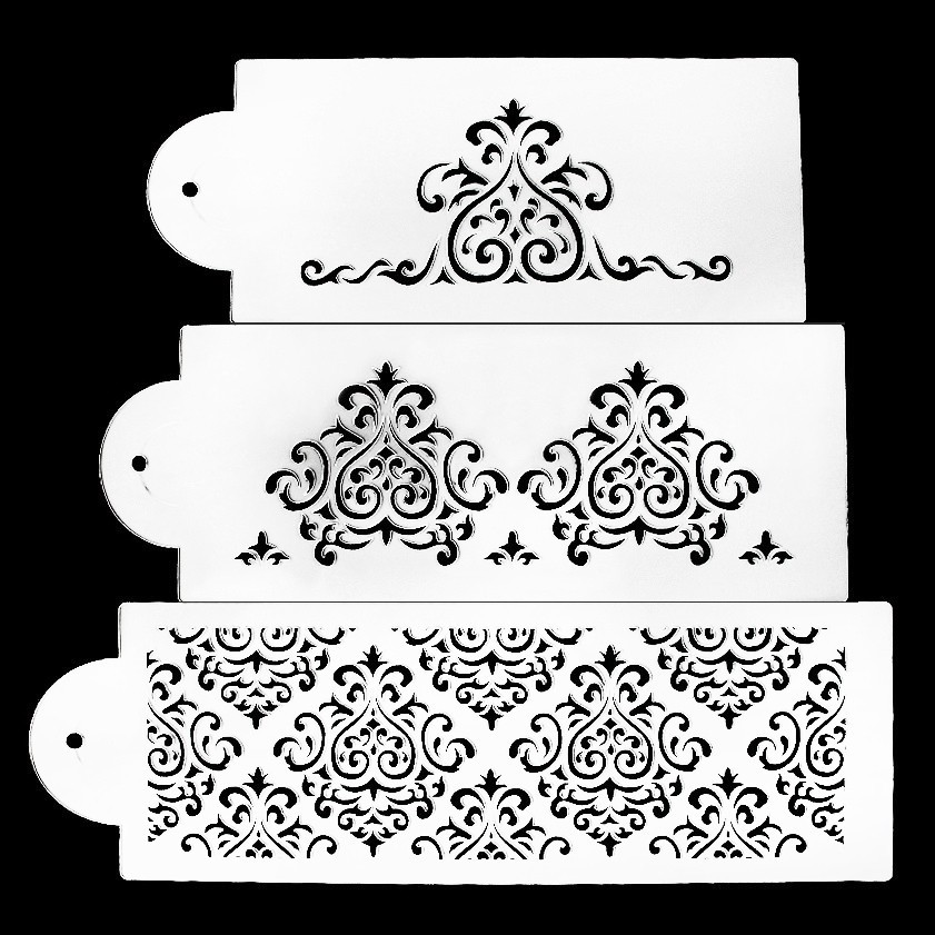 3pcs / Lot Ny Populær Design Stencil Fondant Cake Dekorationsværktøj Cake Mould Pastry Værktøj Baking Decoration For Cake Stencil
