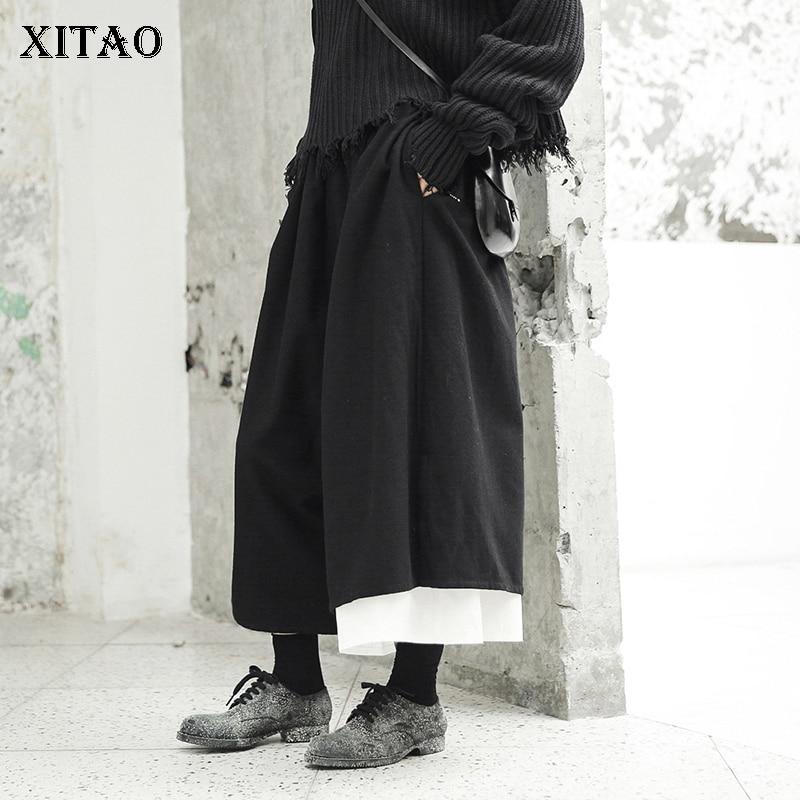 [XITAO] Women 2018 Autumn Korea Fashion Elastic Waist Loose   Wide     Leg     Pants   Female Pleated Patchwork Calf-length   Pants   LJT4350