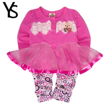 7-24M Baby Girls Clothing Set Organza Coat Toddler Girl Clothes Set Print Long Sleeve T Shirt  +Long Pants Spring Fall Summer