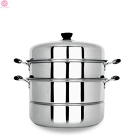 Cooking Steamer Home Stainless Steel 3 layer 28cm Thick Cooker Steamed 13 Litre Cookware