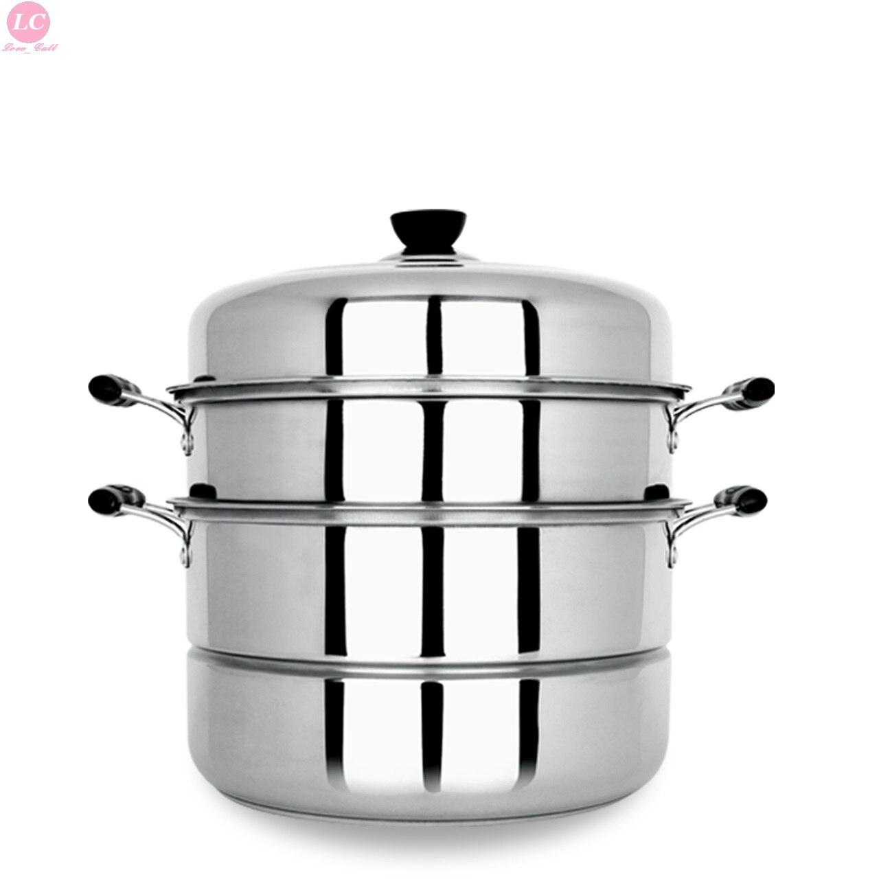 Cuisson vapeur maison acier inoxydable 3 couches 28 cm épaisseur cuisinière cuit à la vapeur 13 litres batterie de cuisine