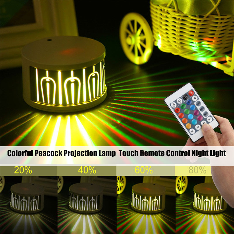 Colorful Peacock Projection Lamp Touching Remote Control Changeable Night Lamp