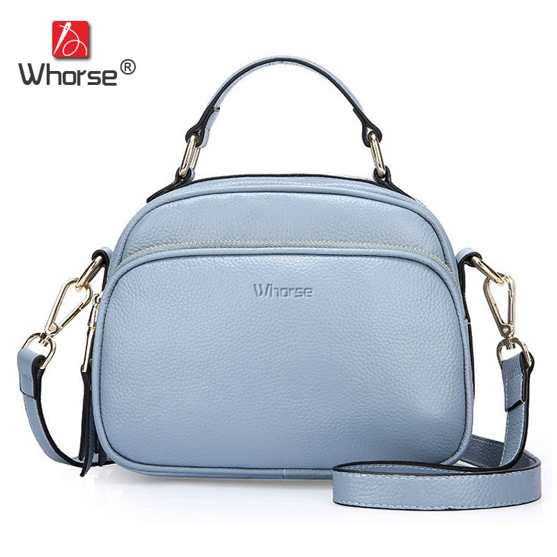 [WHORSE] High Quality Women Handbag Genuine Leather Handbags Small Double Zipper Cowhide Womens Messenger Bags Tote Bag W08470 [whorse] brand luxury fashion designer genuine leather bucket bag women real cowhide handbag messenger bags casual tote w07190