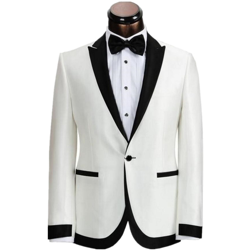 Fashionable One Button Ivory White Groom Tuxedos Groomsmen Mens Wedding Suits Prom Bridegroom Jacket Pants Tie