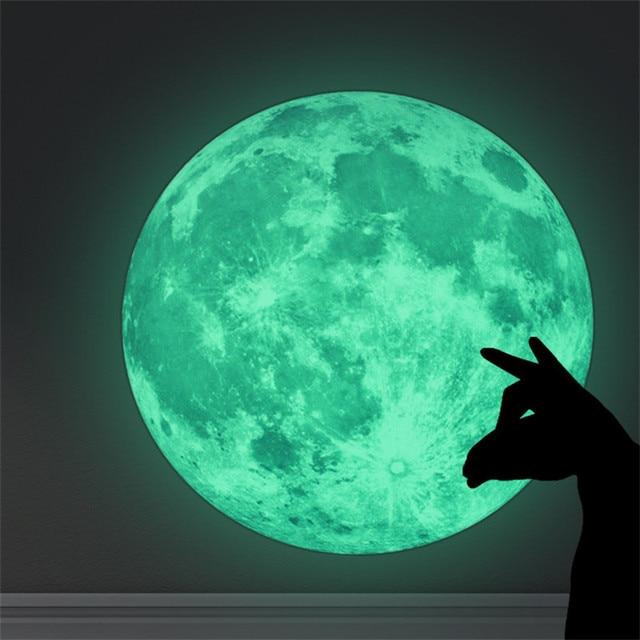 НОВЫЙ Творческий Световой Ночь Луна Стикер 30 см Свечение в темный стикер стены Дети Спальня Гостиная игрушки рождество подарки