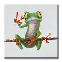 SETE ARTES PAREDE-Pintados À Mão Pintura A Óleo Animais Rã Feliz com Quadro Esticado: 24x24 Polegadas