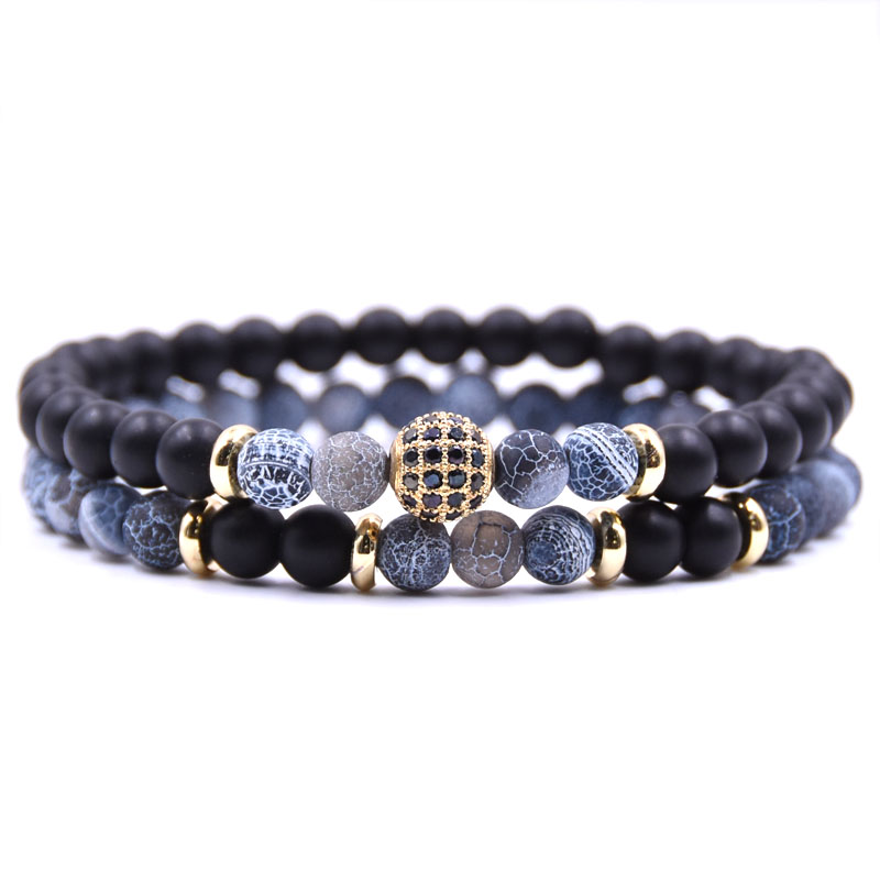 HYHONEY 2 pc/ensembles Bracelet en pierre naturelle hommes Micro pavé CZ 8mm Disco boule charmes bracelets pour femme hommes bijoux viking bijoux