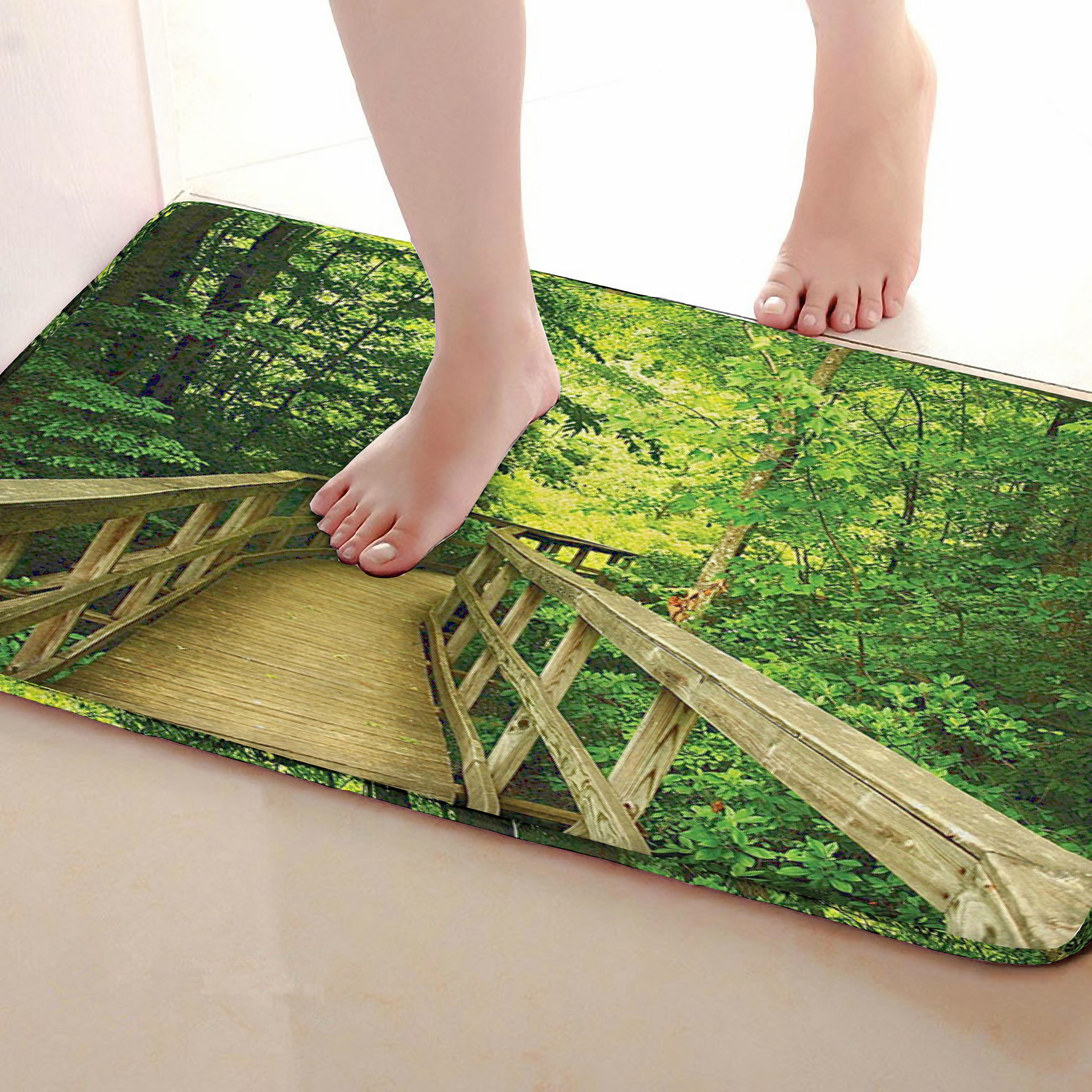 Path Style Bathroom Mat,Funny Anti skid Bath Mat,Shower Curtains Accessories,Matching Your Shower Curtain