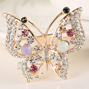 elegant rhinestone butterfly brroch pins for women fashion jewelry wedding brooches gold plated 3 colors choose