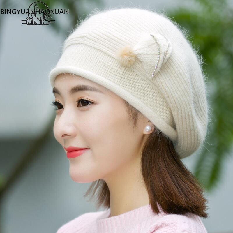 BINGYUANHAOXUAN Inverno Outono Chapéu da Boina para Mulheres Cores Da Moda  Senhora Cap Boina de Pele 3d4e5696267