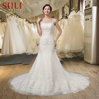 Q 010 High Quality Tulle Lace Appliques Beaded Mermaid Wedding Dress 2016