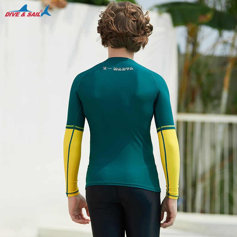 Anak-anak Muda UPF 50 + Lengan Panjang K Berlaku Pemuda Surf Anak-anak Berenang Top Anak Laki-laki dan Perempuan Ruam Penjaga Kolam Tee SPF50 Perlindungan