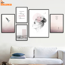 Pink Girl Sea Bird Quotes Wall Art Canvas Painting Landscape Nordic Poster And Prints Pictures For Living Room Home Decor