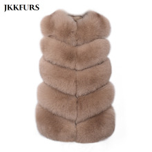 JKKFURS 2019 New Arrivals Real Fox Fur Gilet Women Winter Genuine Soft Natural Long Vest Fashion Coat 5 Rows S1571