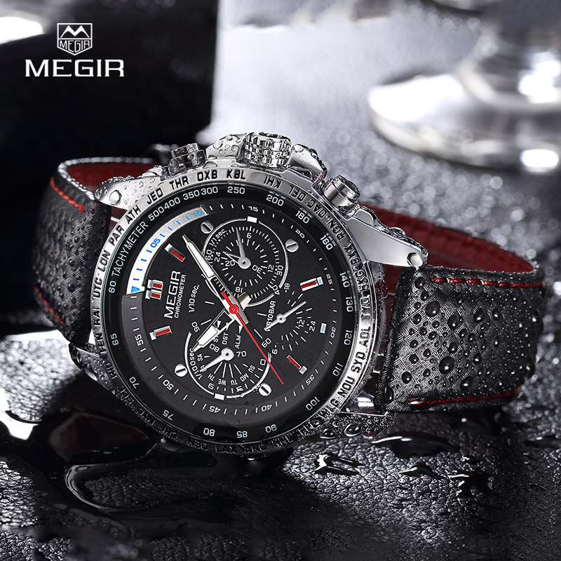 MEGIR hot fashion man's quartz wristwatch brand waterproof leather watches for men casual black watch for male 1010