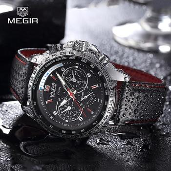 MEGIR hot fashion mans quartz wristwatch brand waterproof leather watches for men casual black watch male 1010