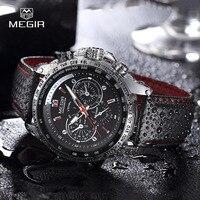 MEGIR Hot Fashion Man S Quartz Wristwatch Brand Waterproof Leather Watches For Men Casual Black Watch