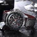 Megir hot moda homem relógio de quartzo relógio de pulso marca de relógios casuais para homens de couro preto relógio à prova d' água para o sexo masculino 1010