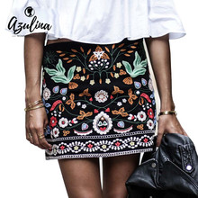 AZULINA Vintage Floral Embroidery Pencil Skirt Women Short Black High Waist Casual Ethnic 2017 Summer Beach Bohemia Mini Skirt