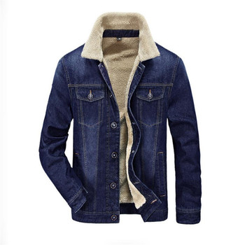 Autumn and winter quality men's denim jacket plus velvet thickening casual jacket denim solid color coat 4XL