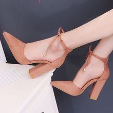 34-43 Solid Nude Casual Pumps Women Sandals Flock Ankle Strap Pointed Toe 10.5cm High Thick Heels Party Female Shoes Plus Size цена 2017