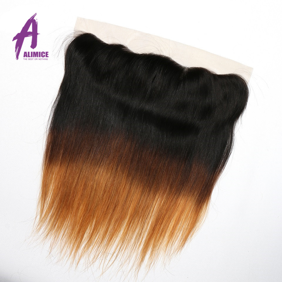 Ombre Peruvian Straight Lace Frontal 3 Tones T1B427 Human Hair Closure With Baby Hair T1B430 Non Remy 8-24inch Alimice  (9)