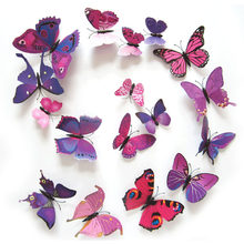 12Pcs 3D Magnet Butterflies DIY Wall Sticker Butterfly on the wall living room Home Decor Fridage stickers wedding Decoration(China)