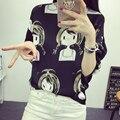 Harajuku Kawaii T Shirt Mulheres blusas 2016 3D Impressão manga Solta Camisa de seda Japonesa Feminina Tops Tops Marca vetement femme