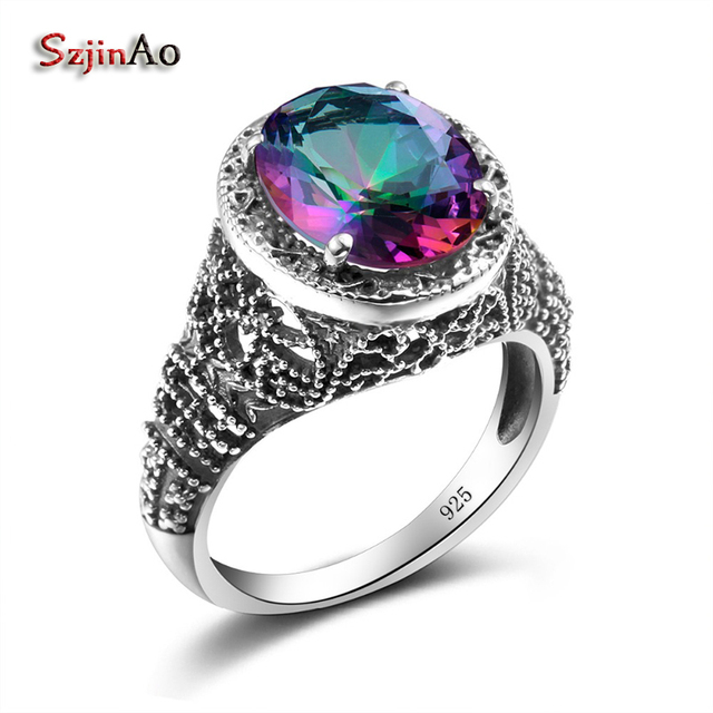 szjinao colorful stone ring mystic rainbow crystal zircon couples engagement rings silver 925 jewelry wedding bands - Rainbow Wedding Rings