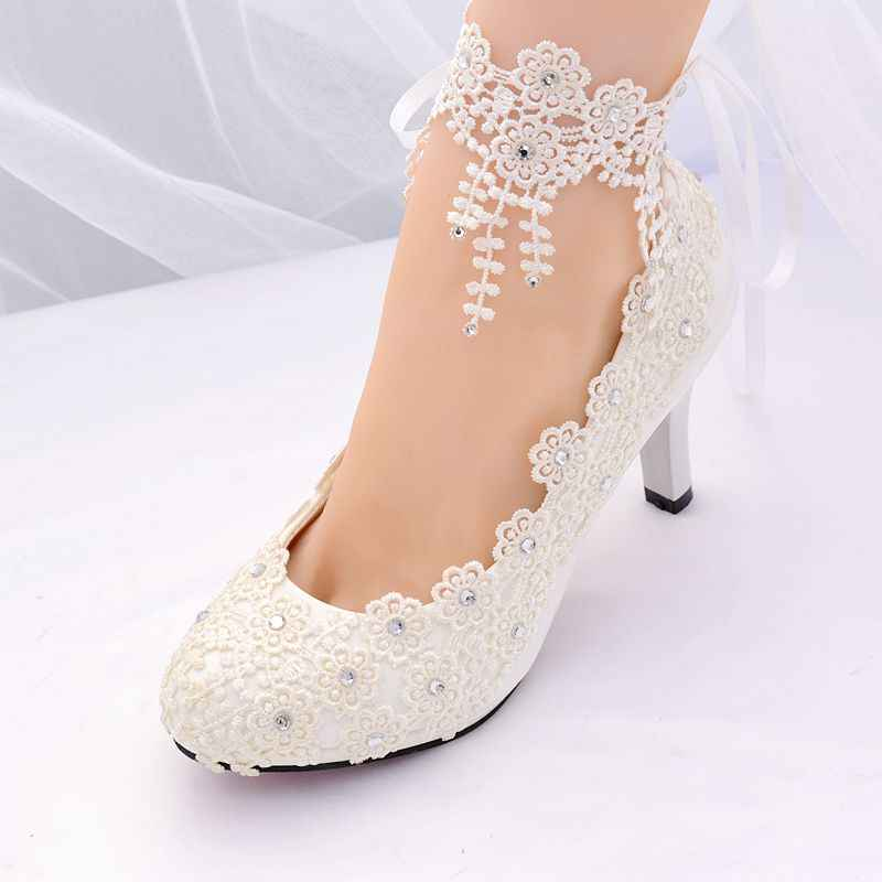 fe779a1d239 ... Ivory lace crystal ankle straps woman wedding shoes HS383 bride  platforms plus size 8cm 3 inch ...
