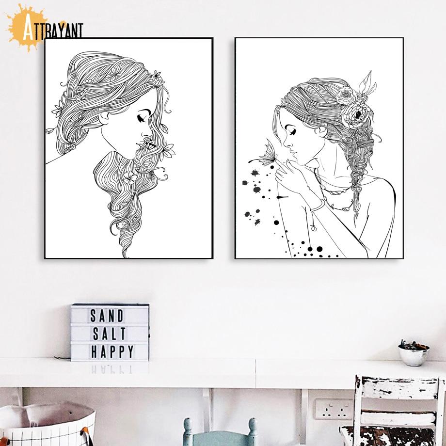 ATTRAYANT Girl Flower Північні плакати та - Домашній декор