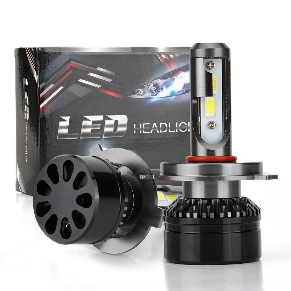 12-24V Super Bright Car LED Headlight Kit H4 H7 Hi/Lo 60W 10000LM Replacement Bulbs 3000K 4300K with Cooling Fan