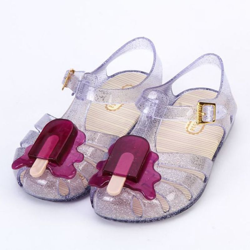 Mini Melissa Children Fashion Kids Casual Clear Hollow Buckle Metal Striped Sneaker Clogs Mules Beach Girls Jelly Shoes Sandals ...