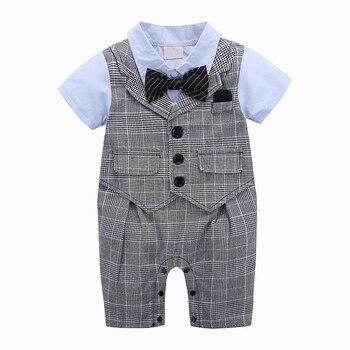 baby clothes boy Gentleman short sleeve overalls infant clothing soft toddler romper breathable cotton children kid jumpsuit set