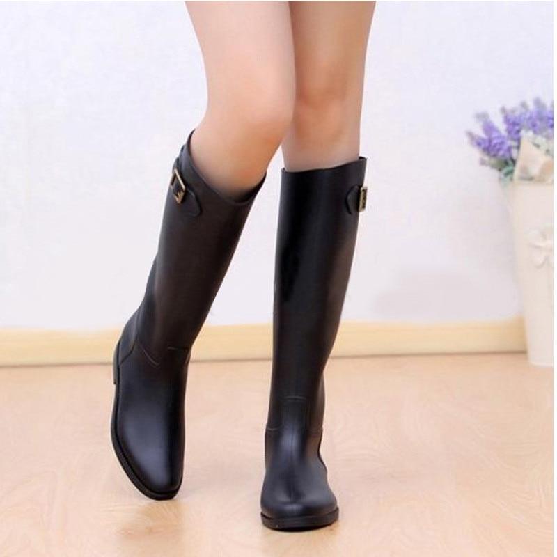 Весенне-осенние женские новые модные резиновые сапоги до колена черного цвета на резиновой подошве, непромокаемые резиновые сапоги, 5 разме...