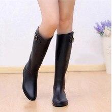 Весна Осень Женщины Новая Мода Дождь Высокая Колена Черный Резиновые Сапоги Обувь Водонепроницаемый Резиновые Сапоги 5 Размеры