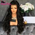 Pelucas llenas del cordón brasileño onda del cuerpo Virginal ondulada Del Pelo Humano Completo peluca de encaje Sin Cola Pelucas Delanteras Del Cordón Con el Pelo Del Bebé Para Negro mujeres