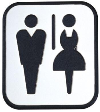Puerta de acero inoxidable signo junta toilte-man y Mujer