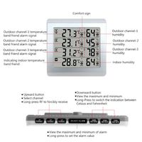 LCD Digital Wireless Indoor/Outdoor Thermometer Hygrometer Four channel Temperature Humidity Meter Weather Station qiang